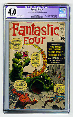 Fantastic Four #1 CGC 4.0 OW KEY Origin & 1st Mole Man Kirby Lee Marvel Silver