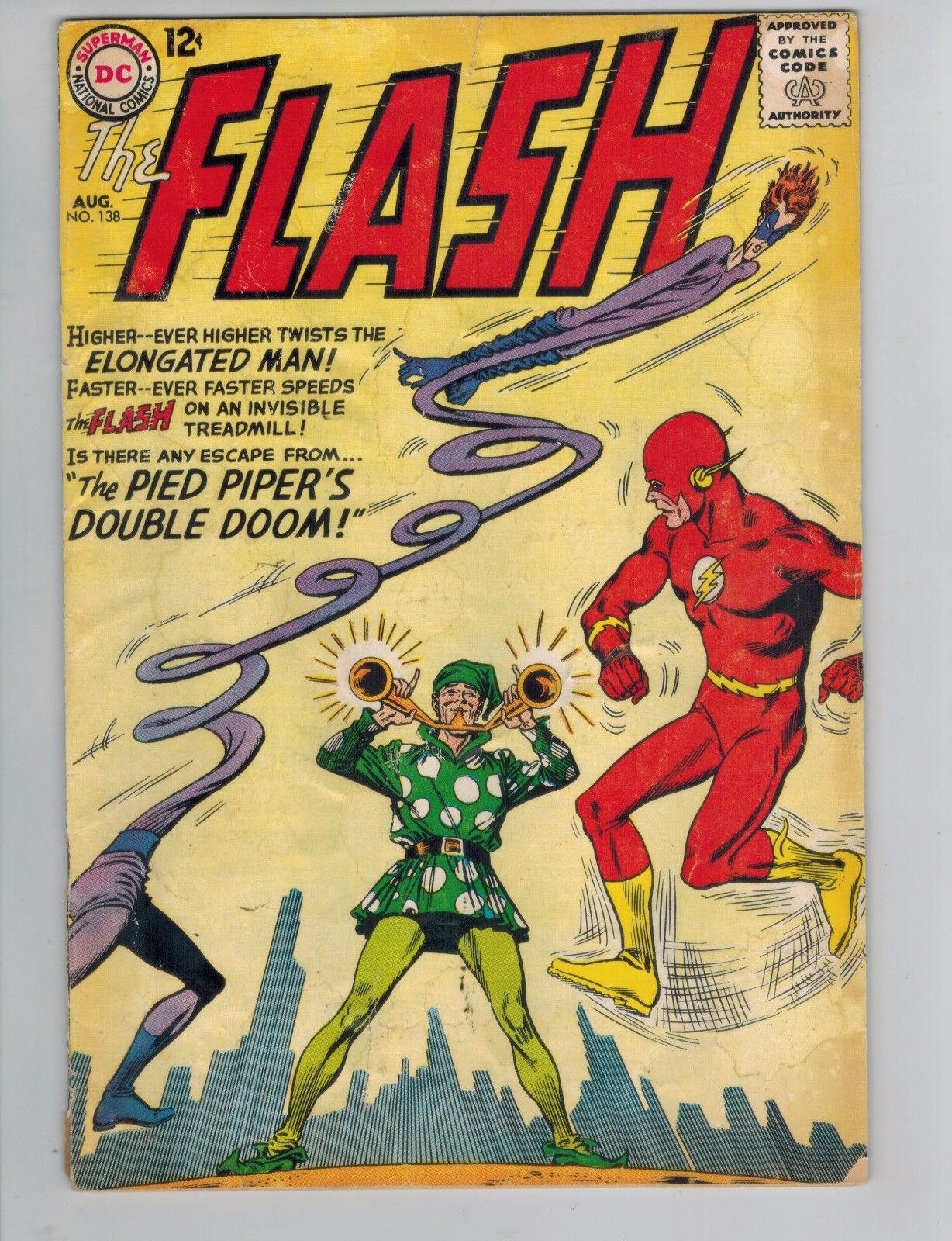 The Flash 138 & 141 vs the Pied Piper and the Top  1963 DC Comics Good