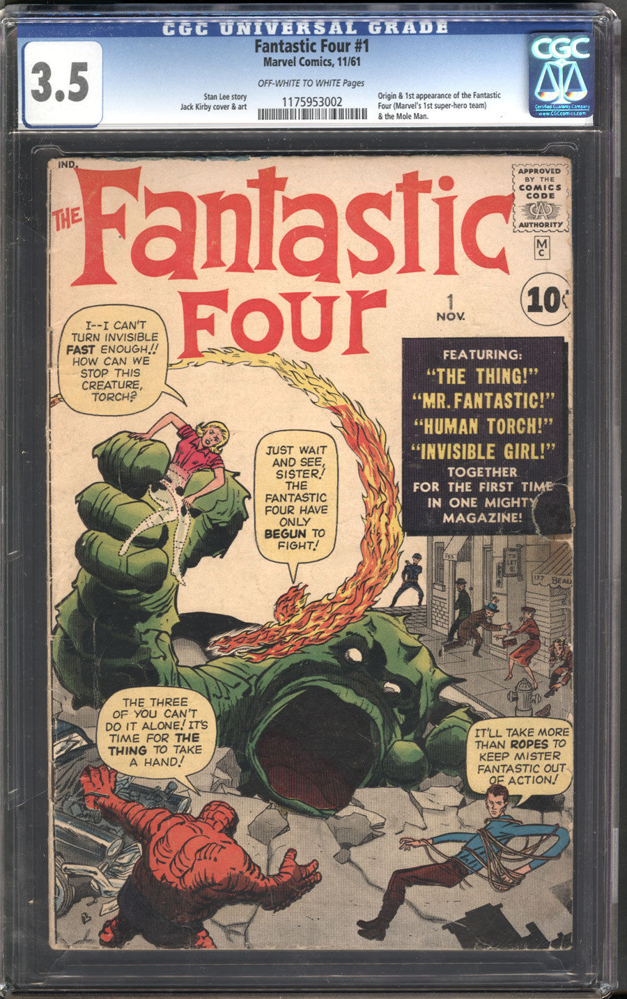 Fantastic Four #1 CGC 3.5 Looks Nicer   Super Key *1st Fantastic Four