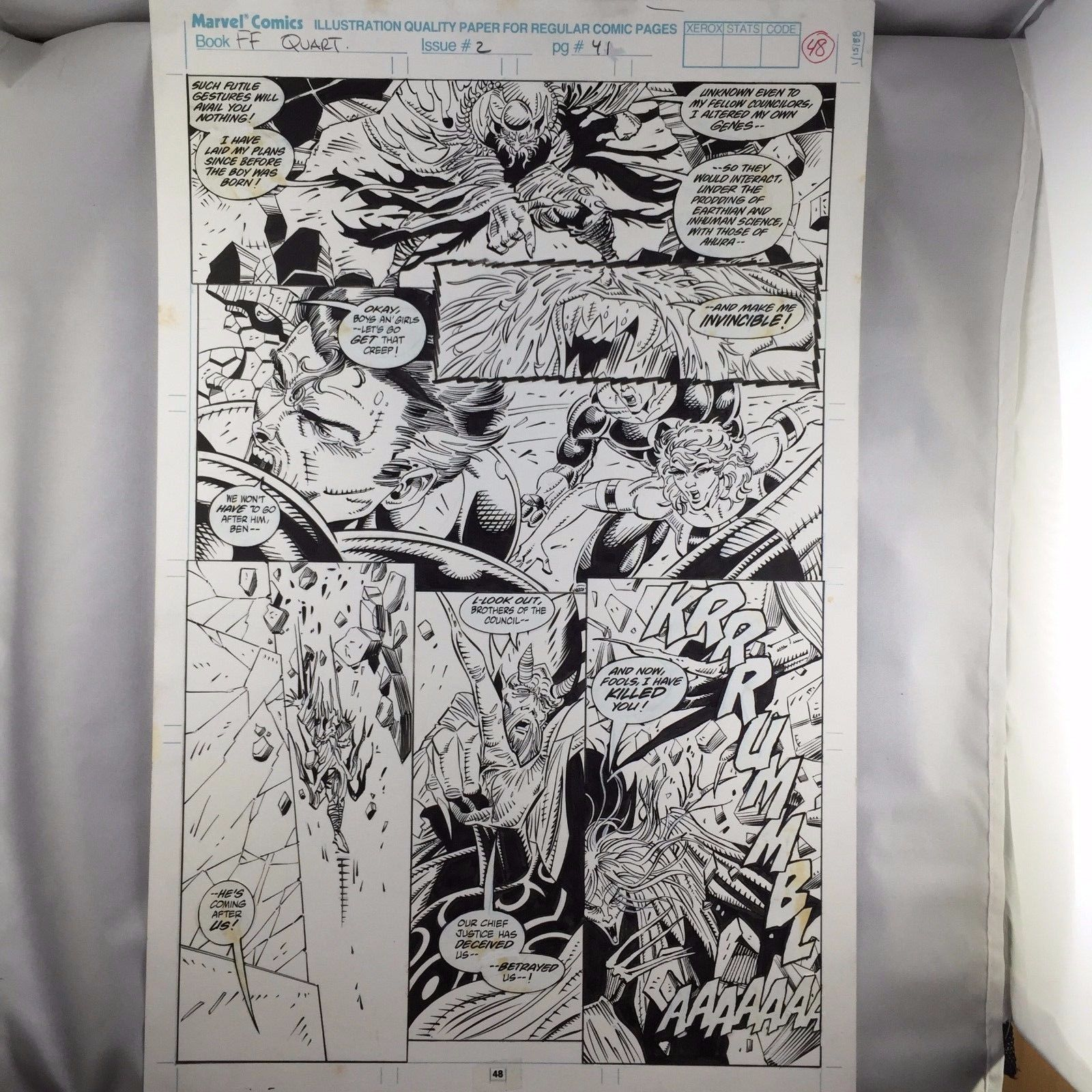 Herb Trimpe Original Art 2 Consecutive Action Pages:Fantastic Four Unlimited #2