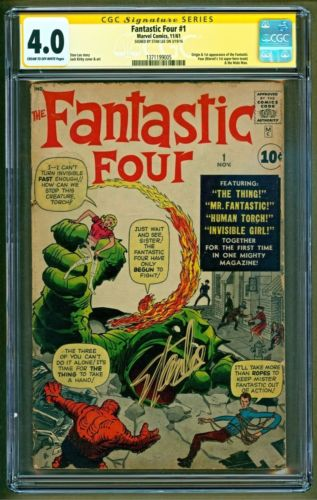 Fantastic Four #1 (1961 Marvel) 1st appearance of Team SIGNED Stan Lee CGC 4.0