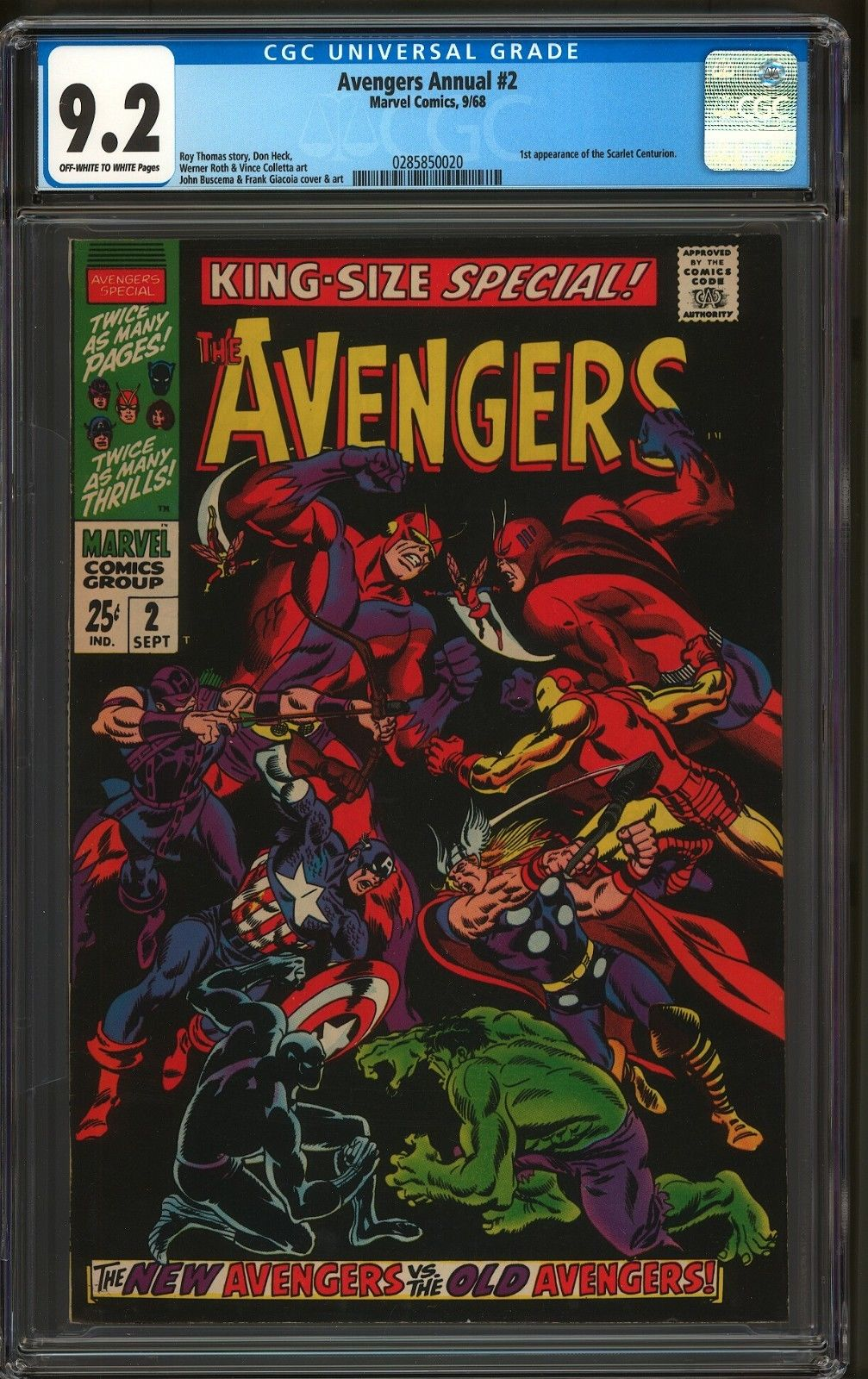 AVENGERS ANNUAL #2 CGC 9.2 OW/W PAGES CLASSIC AVENGERS VS AVENGERS COVER