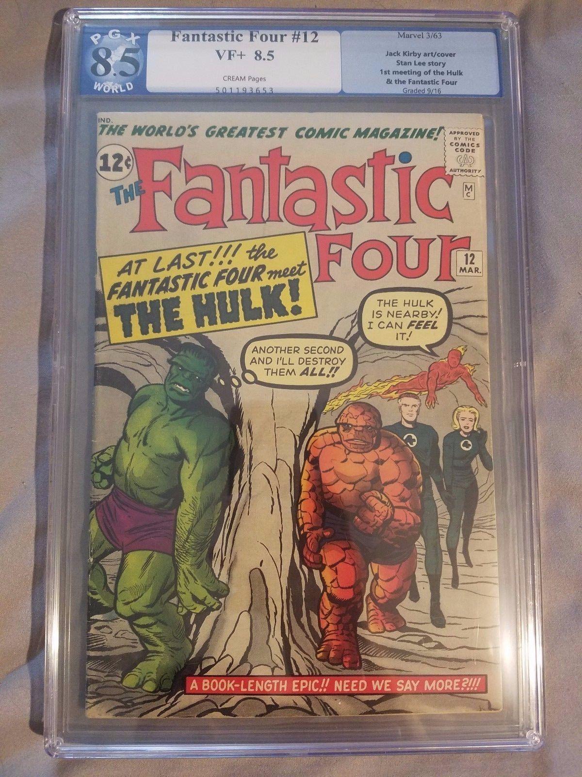 Fantastic Four 12 Marvel 1963 PGX 8.5 1st Meeting Hulk & Fantastic Four