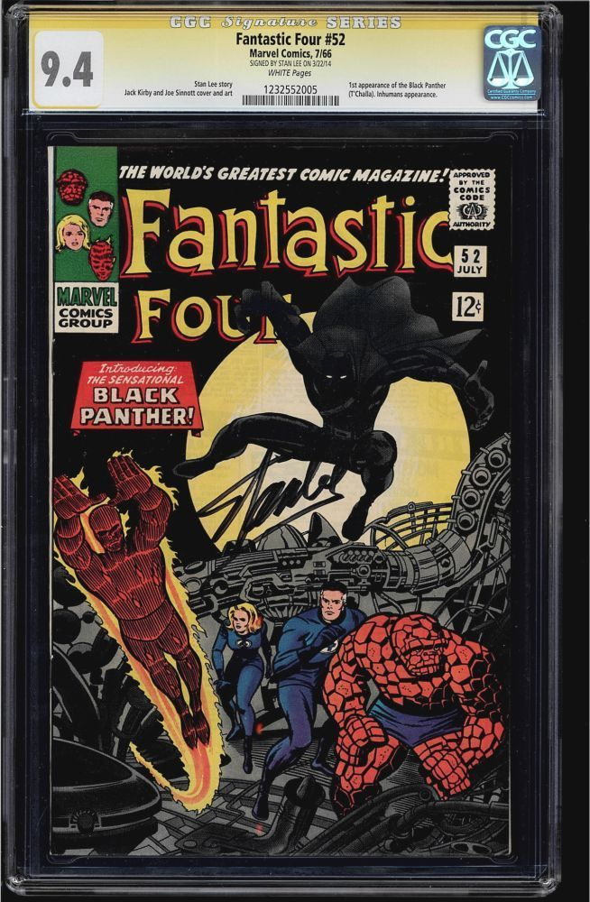 FANTASTIC FOUR #52 CGC 9.4 WHITE  SS STAN LEE 1ST BLACK PANTHER CGC #1232552005