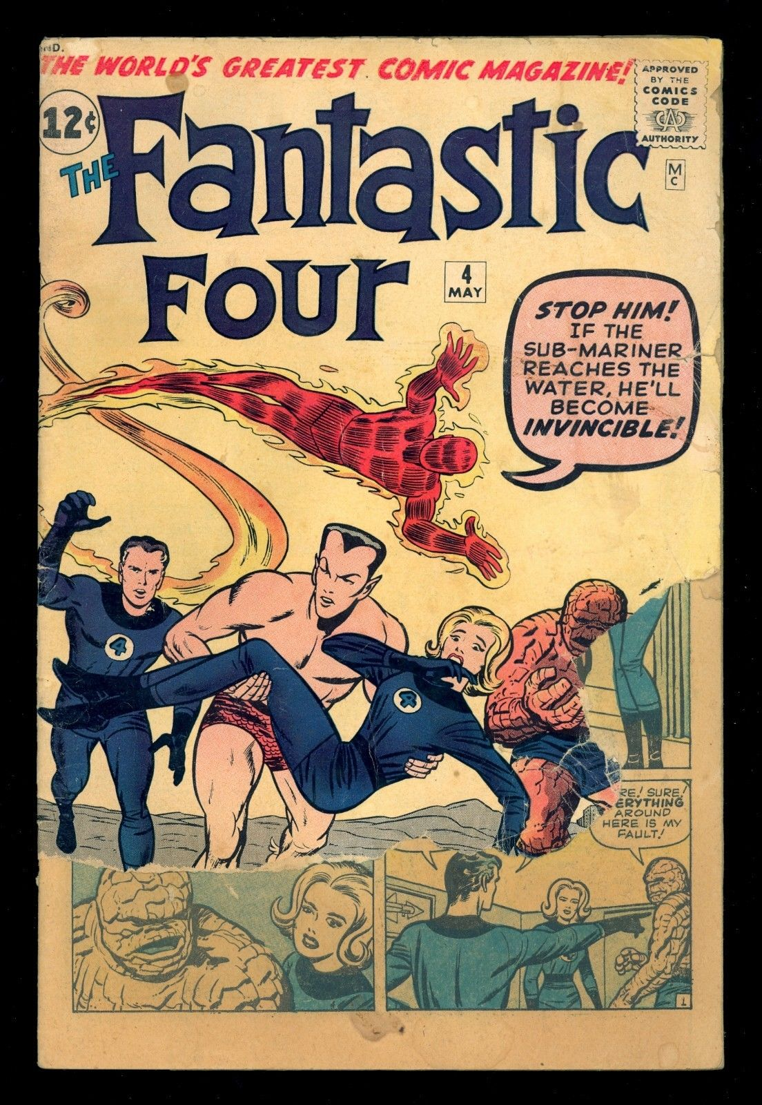 FANTASTIC FOUR #4 MARVEL 1962 1st SILVER AGE SUB-MARINER LEE-KIRBY 1.0 FR READER