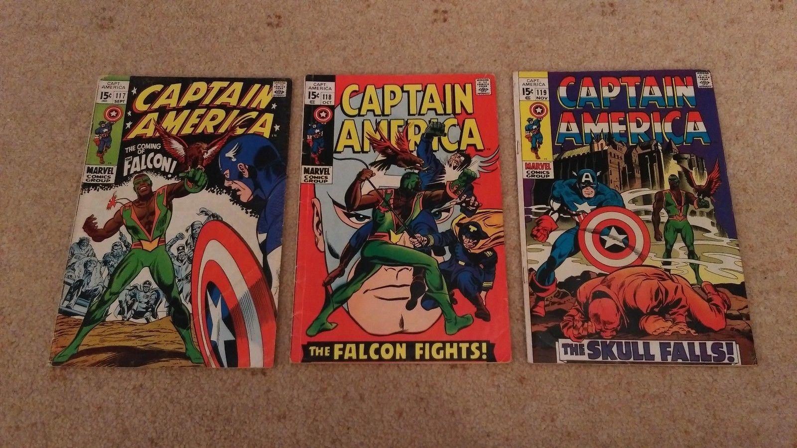 CAPTAIN AMERICA #117/118/119 - KEY SET 1ST 3 APPEARANCES OF FALCON-CENTS COPIES