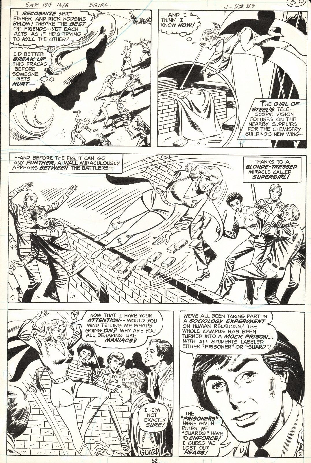 DON HECK SUPERGIRL in SUPERMAN FAMILY #194 Original DC Comic Bronze Art 1978