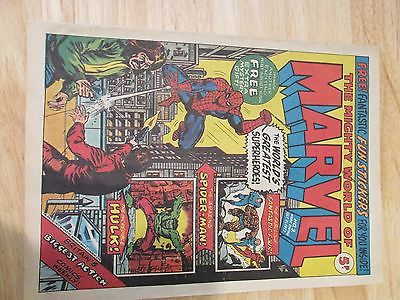 Vintage The Mighty World of Marvel Comic No 3 Date 1972 Complete Free Stickers