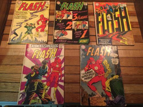 DC Comic The Flash Lot Of 5 - no. 138, 173, 174, 181, 182      (1963-1968)