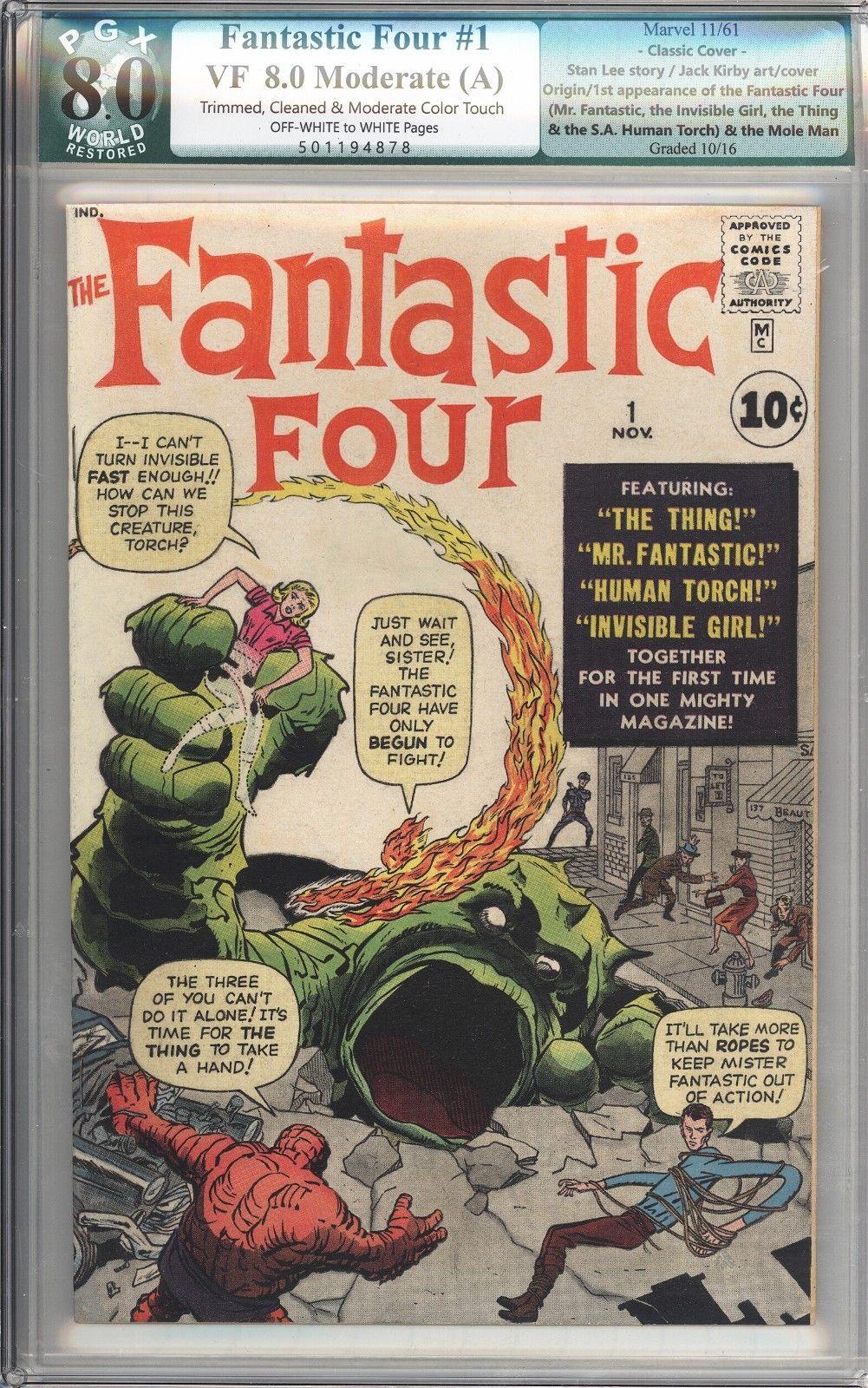 Fantastic Four #1 Vol 1 PGX 8.0 Very High Grade 1st App of Fantastic Four 1961