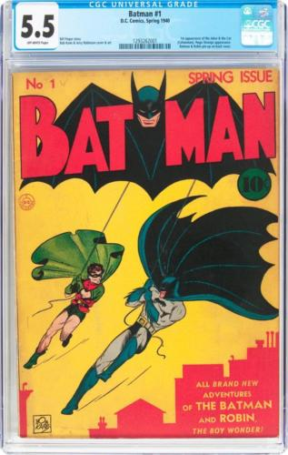 Batman #1 (DC, 1940) CGC FN- 5.5 Off-white pages. The f Lot 91053