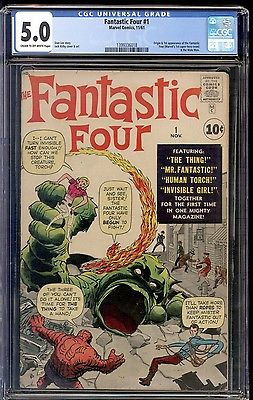 1961 Fantastic Four #1 B CGC 5.0 The Fantastic Four and Mole Man 1st App