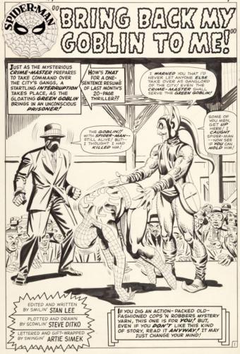 Steve Ditko Amazing Spider-Man #27 Splash Page 1 Origin Lot 93075