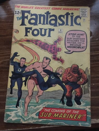 FANTASTIC FOUR #4 MARVEL 1962 1st SILVER AGE SUB-MARINER LOW GRADE 1.5 To 2.0