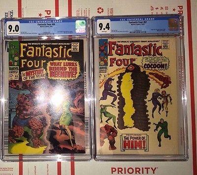 Fantastic Four #67 CGC 9.4   WHITE Pages   1st Him & Fantastic Four #66 CGC 9.0