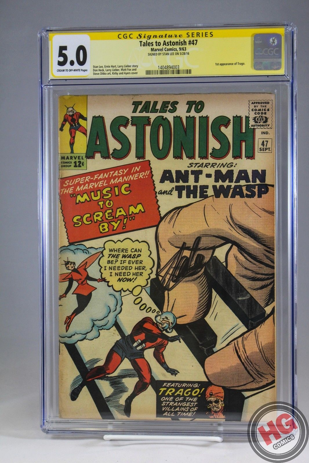 Tales To Astonish #47 9/63 CGC 5.0 SS Stan Lee Giant Man Wasp 1st Trago Avengers