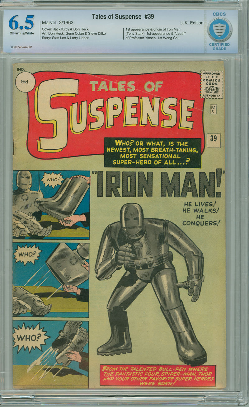 Tales of Suspense 39 CBCS 6.5 FN+ UK Copy OW/W Marvel 1963 1st App Iron Man