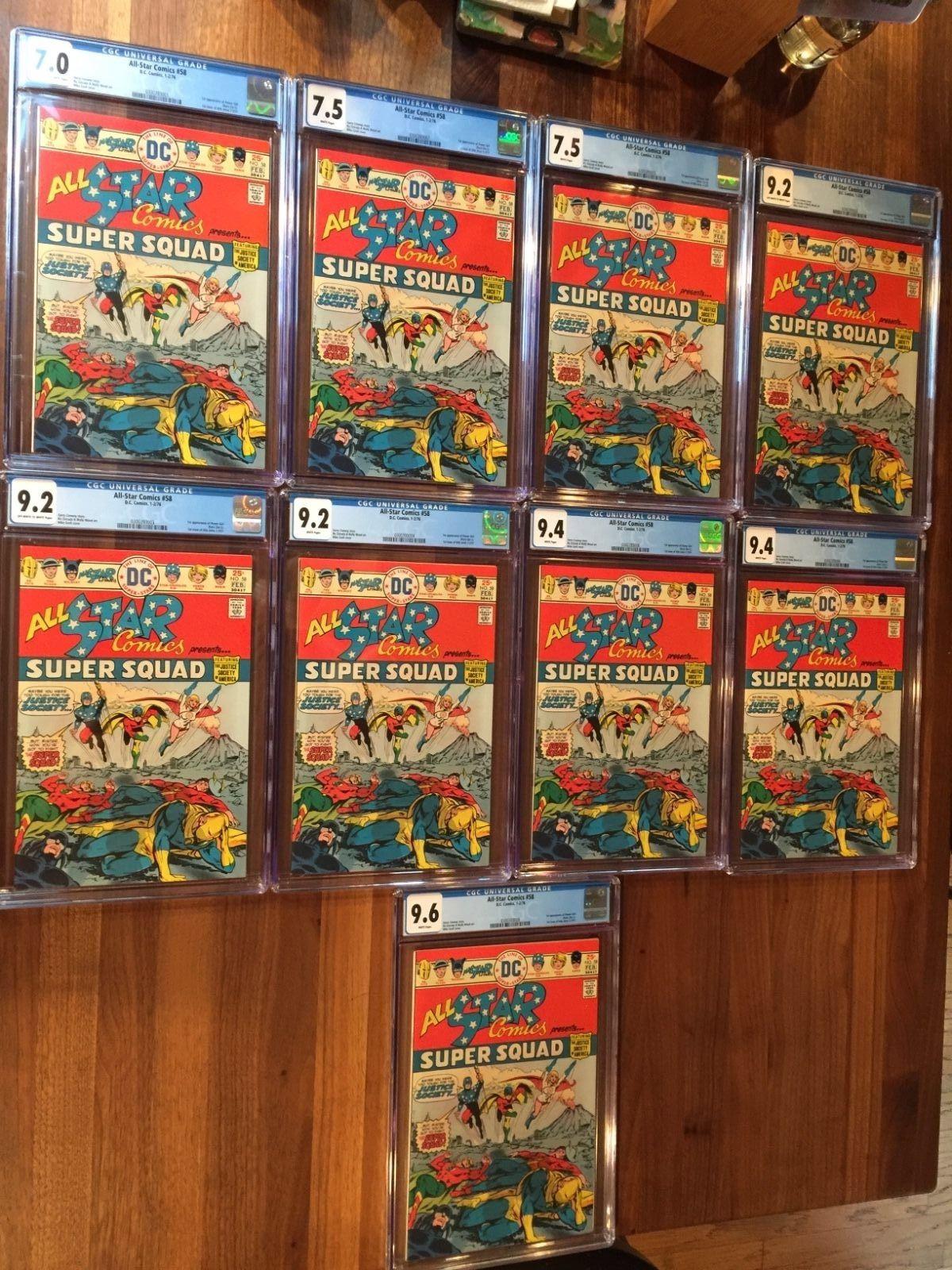 RARE 1976 BRONZE AGE ALL-STAR COMICS #58 CGC 7.0, 7.5, 9.2, 9.4, 9.6 POWER GIRL
