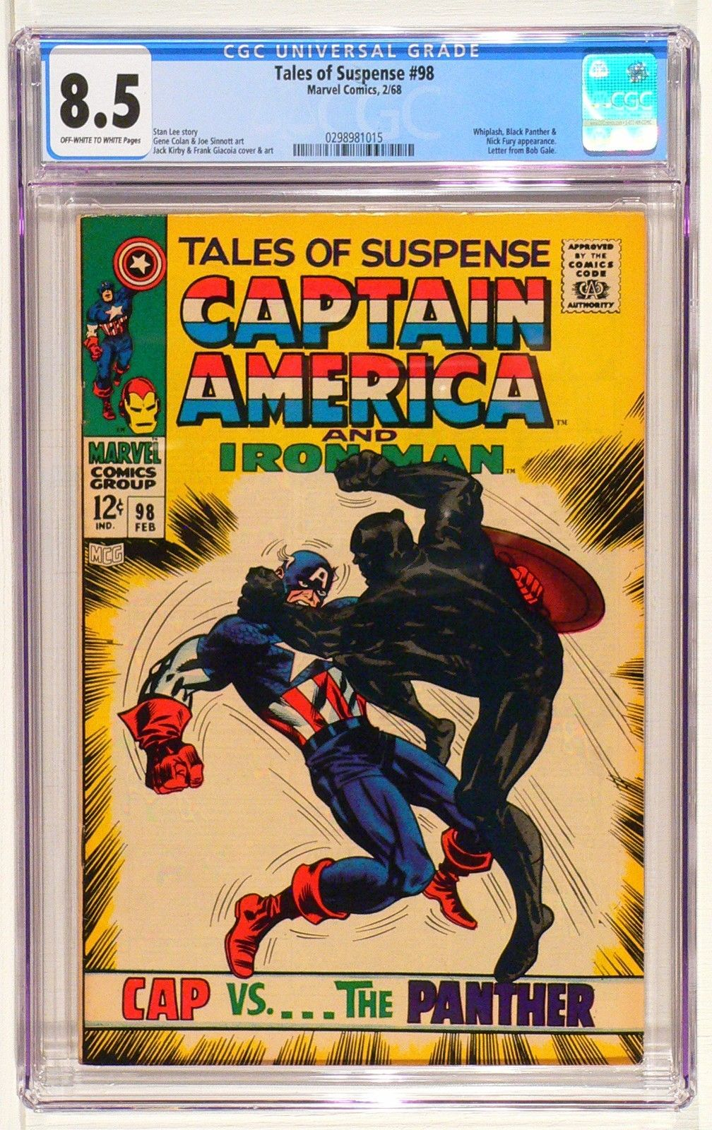 Tales of Suspense #98 Marvel Comic, Kirby CGC 8.5 VF+ Black Panther & Cap A