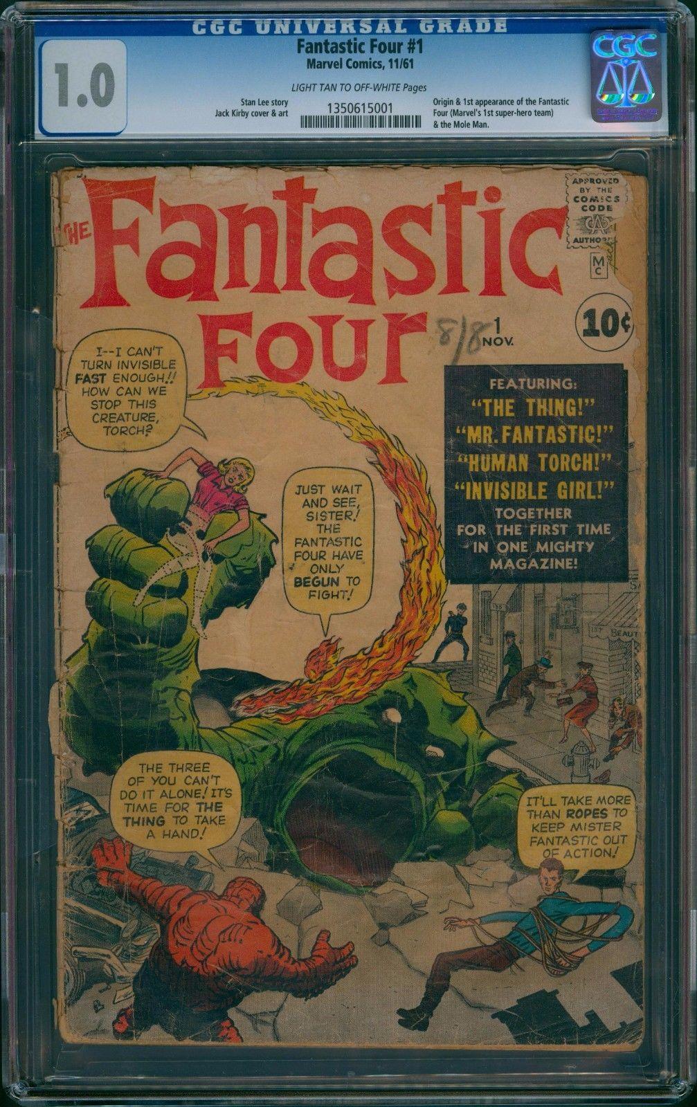 FANTASTIC FOUR #1 CGC 1.0 1961 ORIGIN 1ST APP FANTASTIC FOUR MARVEL UNRESTORED