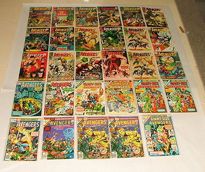 % 1960-80'S MARVEL THE AVENGERS 29 COMIC BOOK COLLECTION G-30