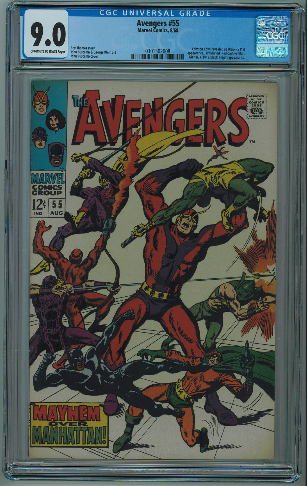 AVENGERS #55 CGC 9.0 HIGH GRADE OFF-WHITE TO WHITE PAGES 1968