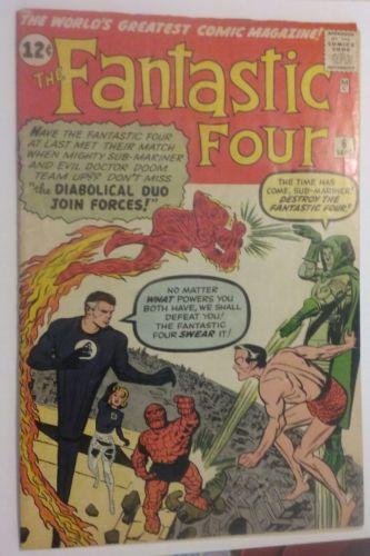 Fantastic Four vol.1 # 6 VG 4.0 cond 2nd Dr. Doom 1st Villain teamup Submariner