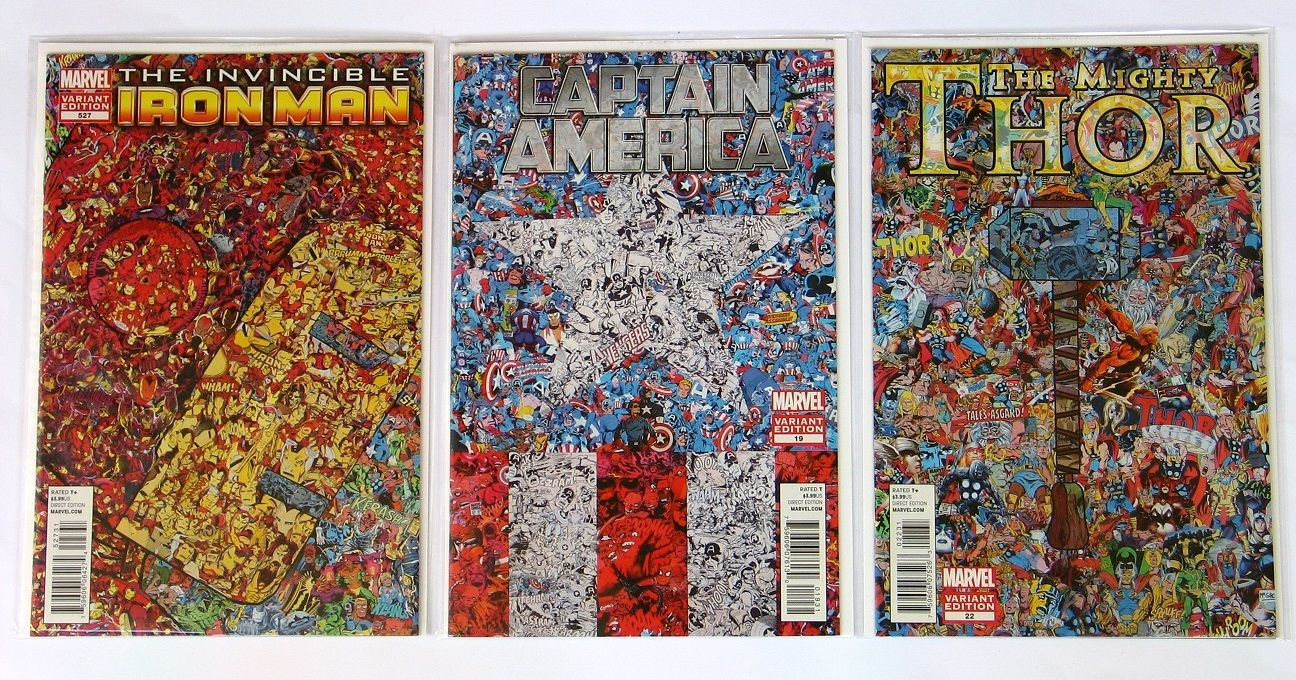 THE INVINCIBLE IRON MAN #527 CAPTAIN AMERICA #19 THOR #22 COLLAGE VARIANT COVER