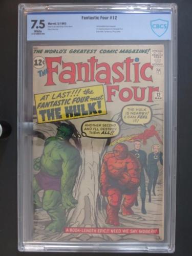 Fantastic Four #12 - CBCS 7.5 VF- Marvel 1963 - 1st Hulk & Fantastic Four Battle