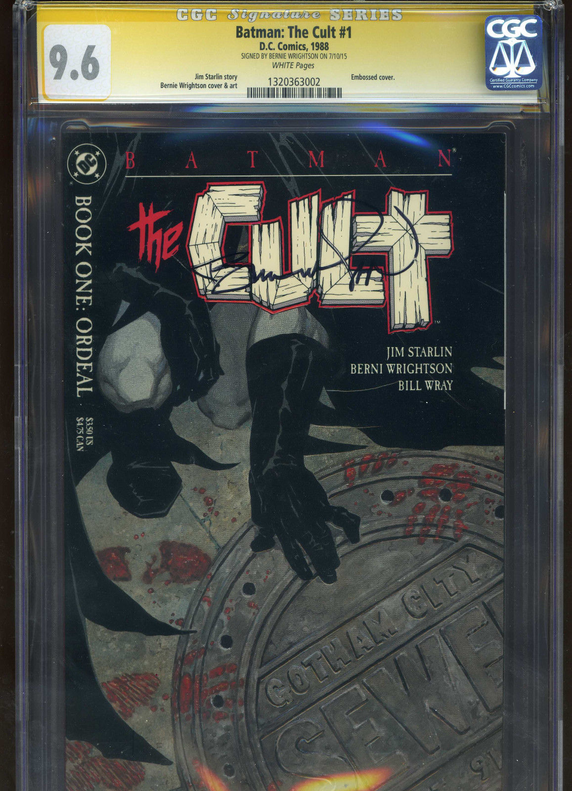Batman: The Cult #1 CGC 9.6 SS Bernie Wrightson signed autograph