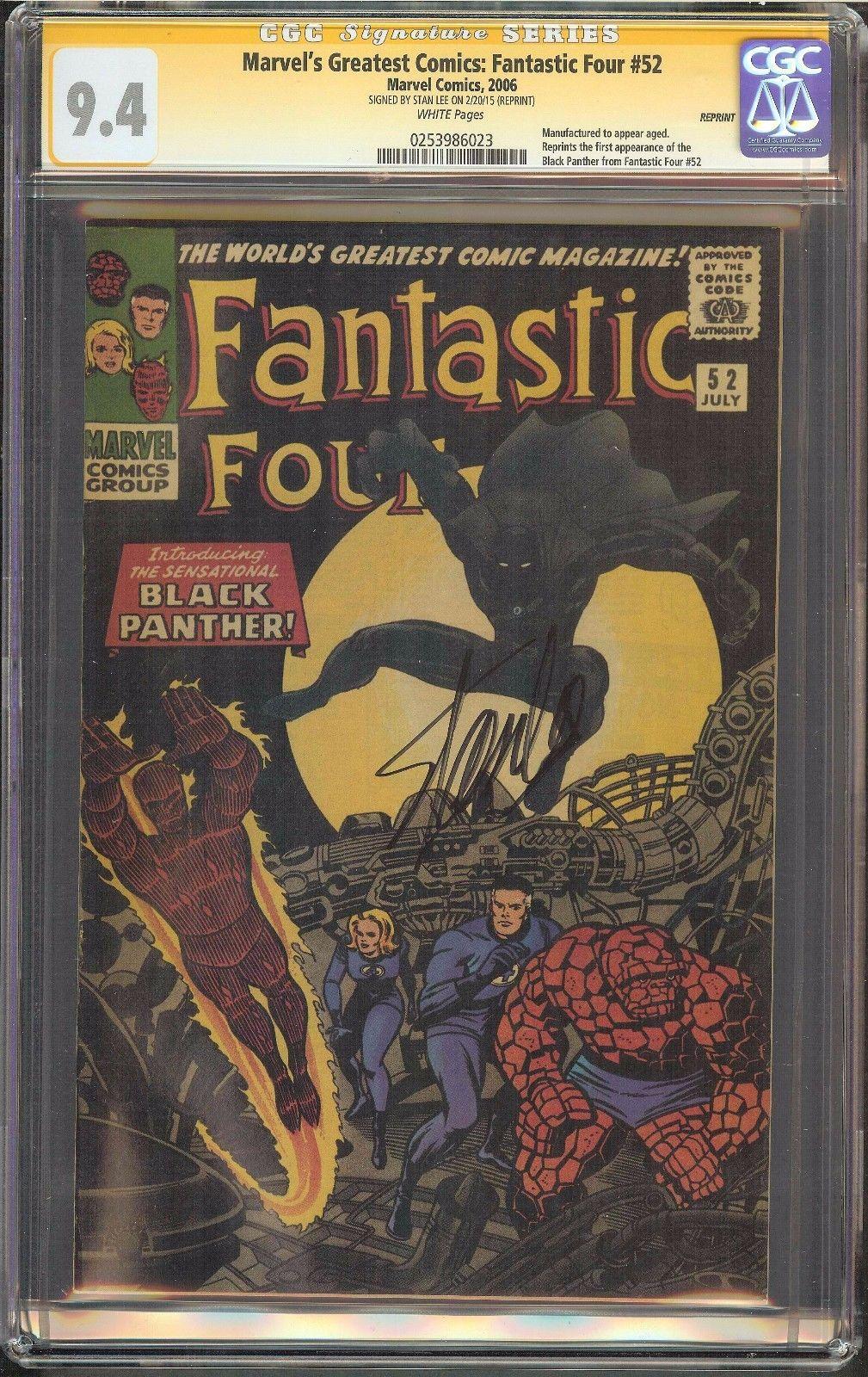 Marvel's Greatest Comics: Fantastic Four #52 CGC 9.4 NM SIGNED STAN LEE REPRINT