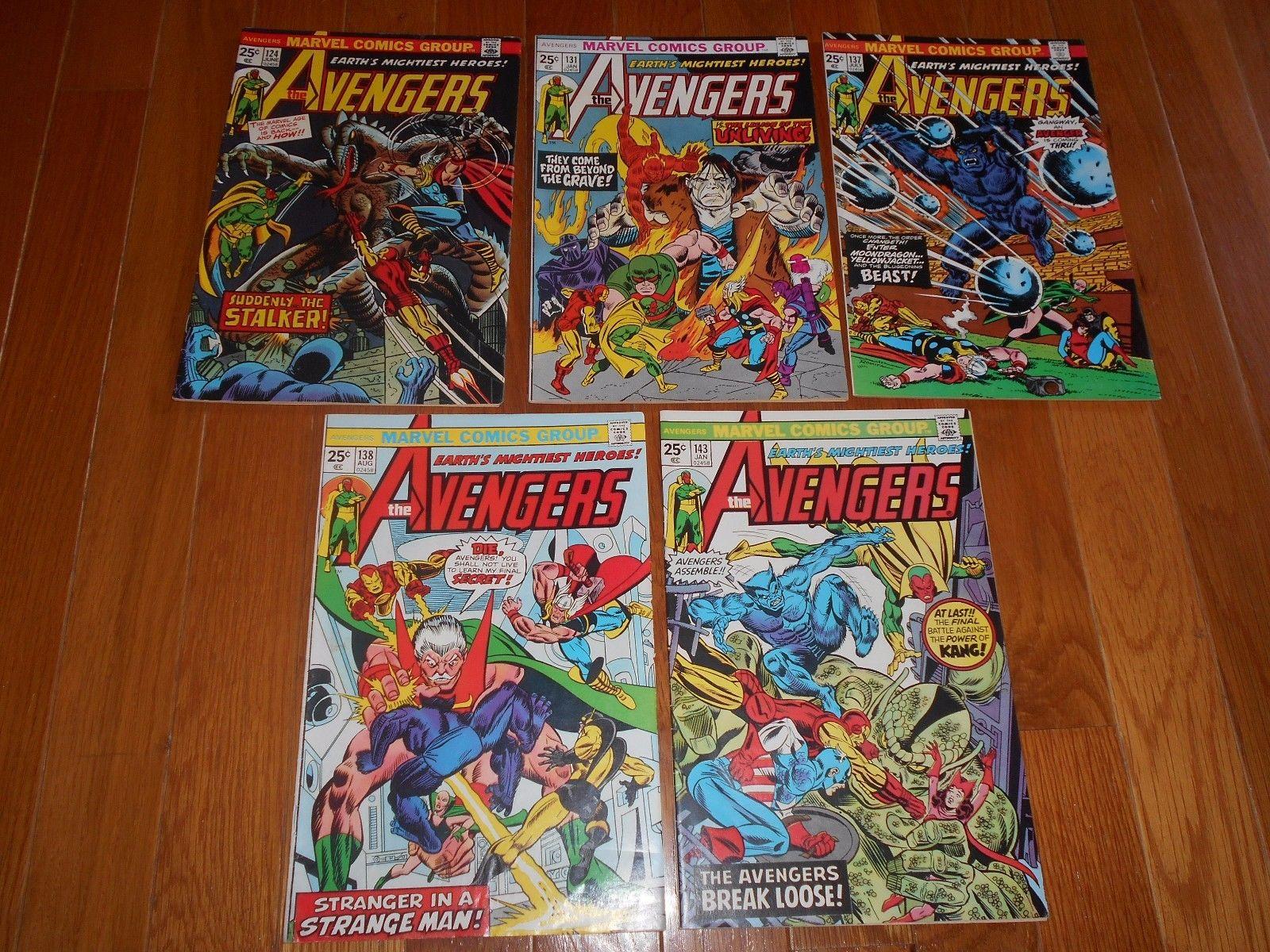 AVENGERS #124 131 137 138 141 lot of (5) Fine FN Iron Man Thor Captain America