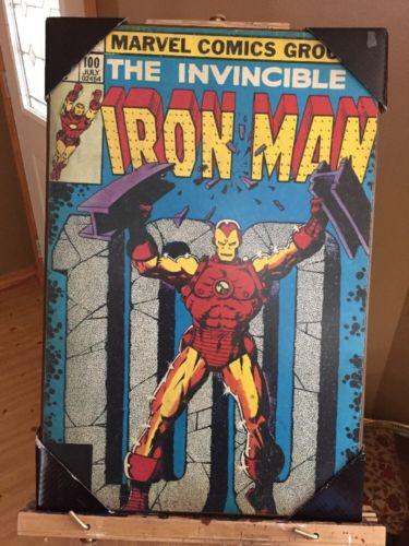 IRON MAN 100 (1977) MARVEL SILVER BUFFALO 13'' x 19'' WOOD WALL ART DECOR PLAQUE