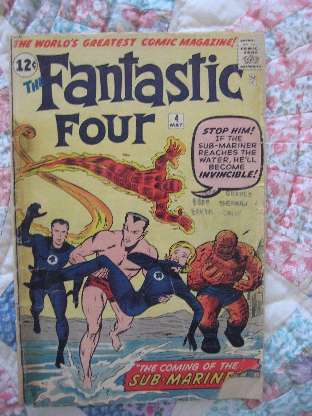 Fantastic Four(1962) #4 1st Silver Age App Namor Sub-Mariner Lee Kirby FAIR(1.0)