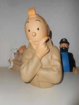 Grand buste Tintin penseur polychrome 24cm type Leblon Aroutcheff Pixi Fariboles