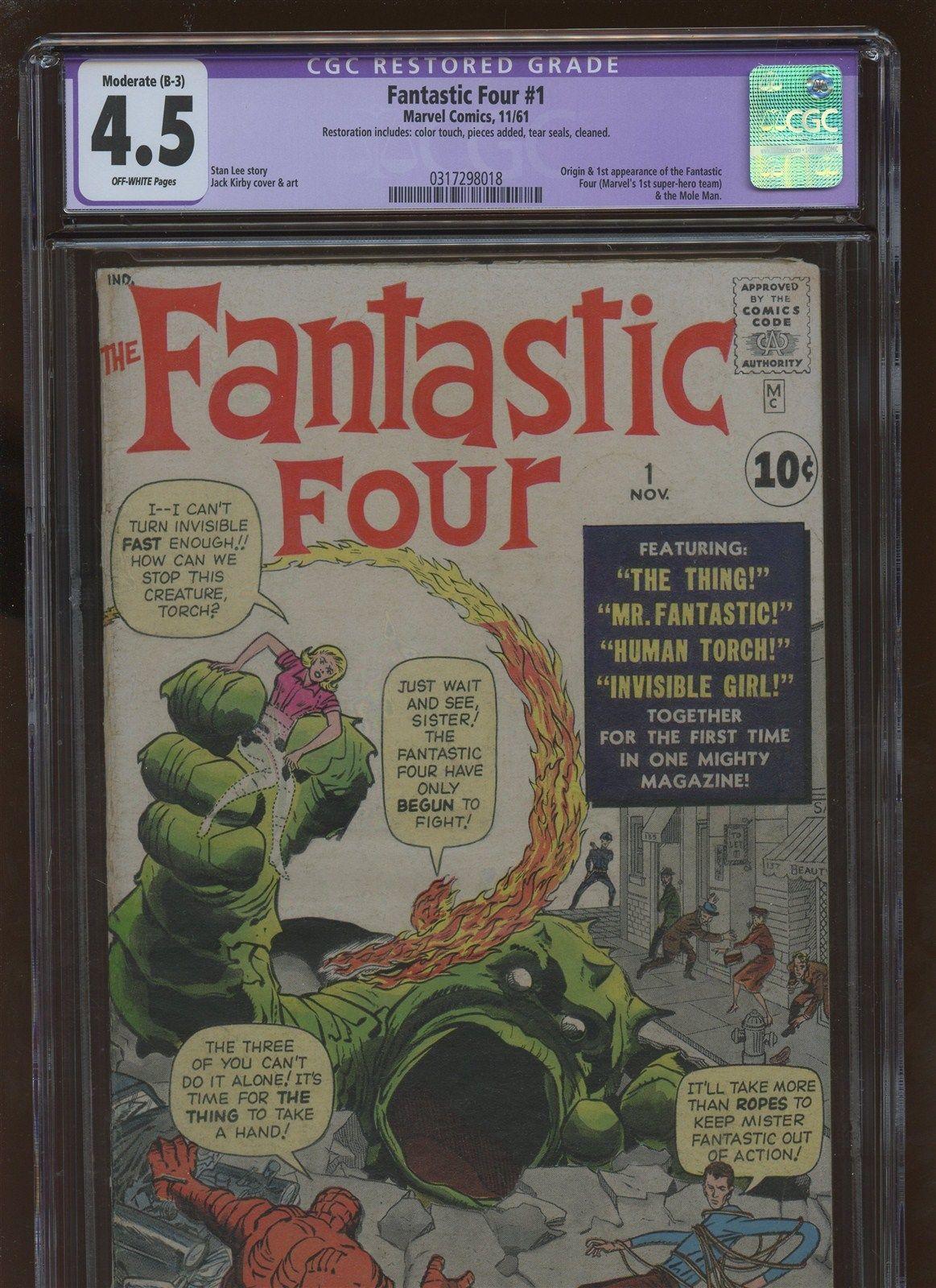 Fantastic Four 1 CGC 4.5 VG+ * MARVEL 1961 *  1st Fantastic Four