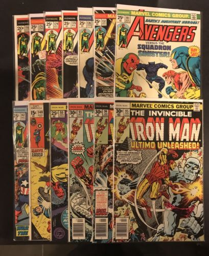 Marvel Lot 11 Avengers 116 124 129 131 135-137 141 147 Iron Man 93 + CA 140