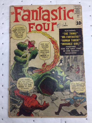 Marvel Fantastic Four # 1 First App 1st App Not Cgc Low Grade Raw Ungraded 1961