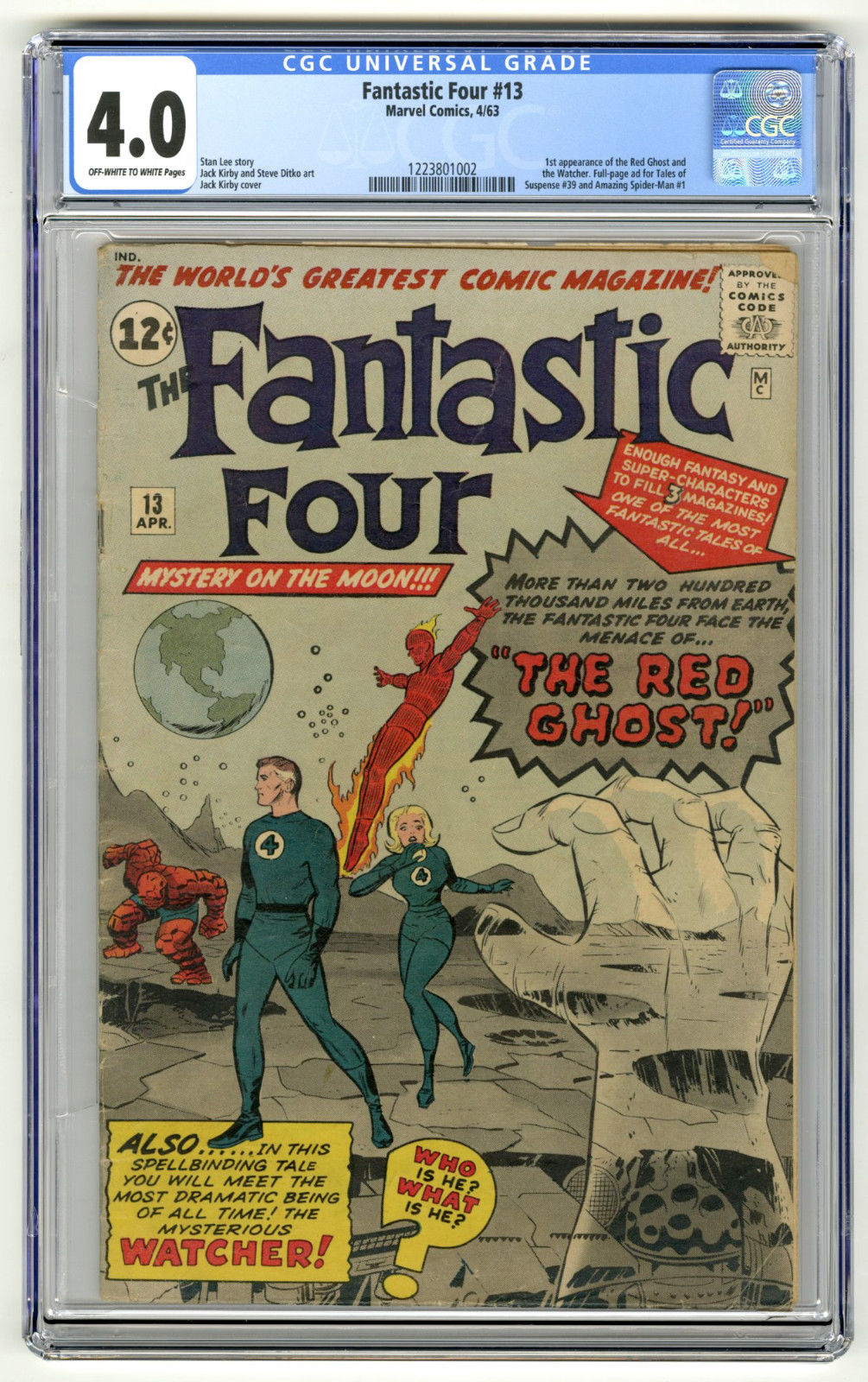 FANTASTIC FOUR #13 CGC 4.0 OW/W 1st Red Ghost & Watcher, FP Ad for TOS 39 ASM 1