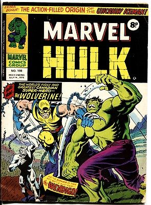 MIGHTY WORLD OF MARVEL #198-1976-U.K. ISSUE-HULK #181-WOLVERINE ISSUE