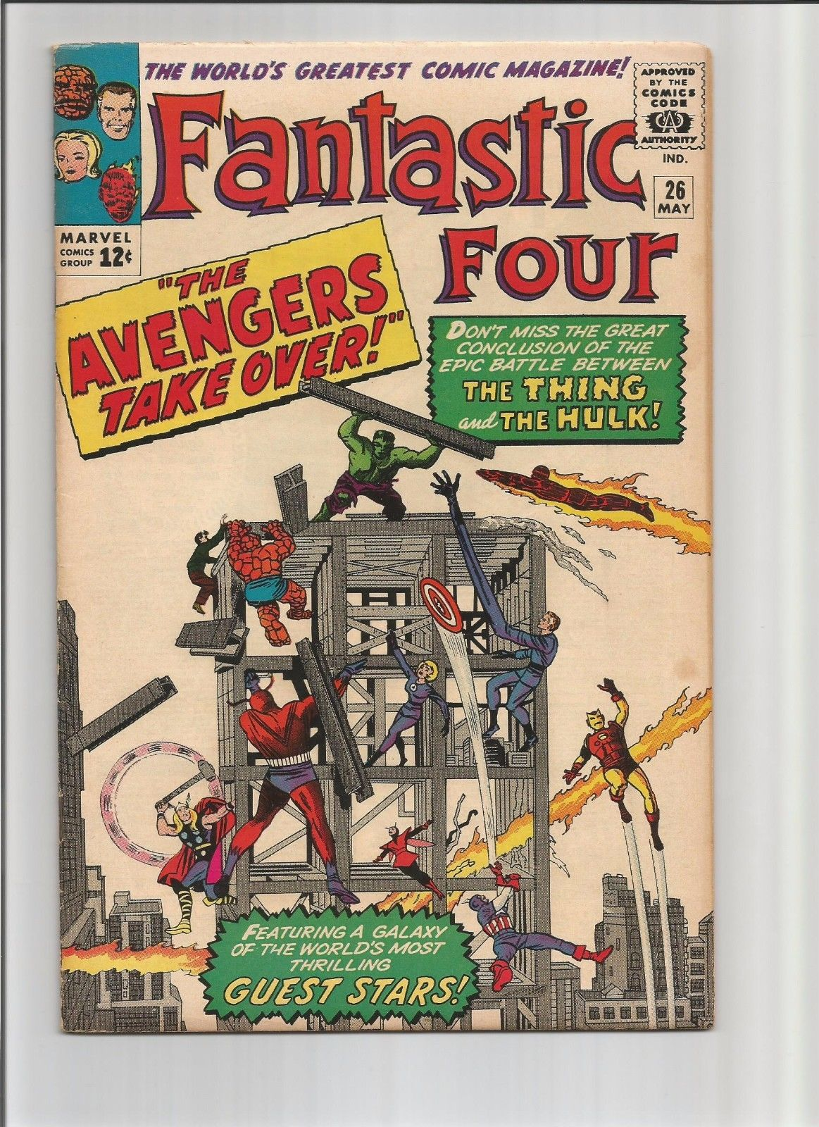FANTASTIC FOUR 26 VERY FINE(8.0) V. 1 AVENGERS 1 X-OVER NOT CGC, 4, 5, 12, 25