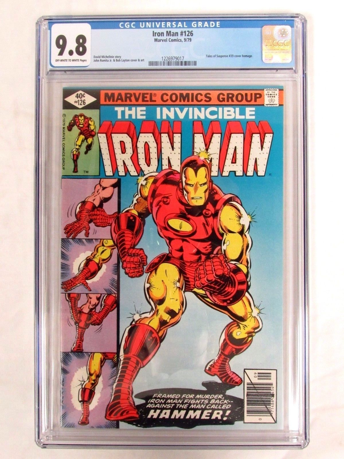 Marvel Comics Iron Man #126 (1979) Key ToS #39 Cover Swipe CGC 9.8 FL331