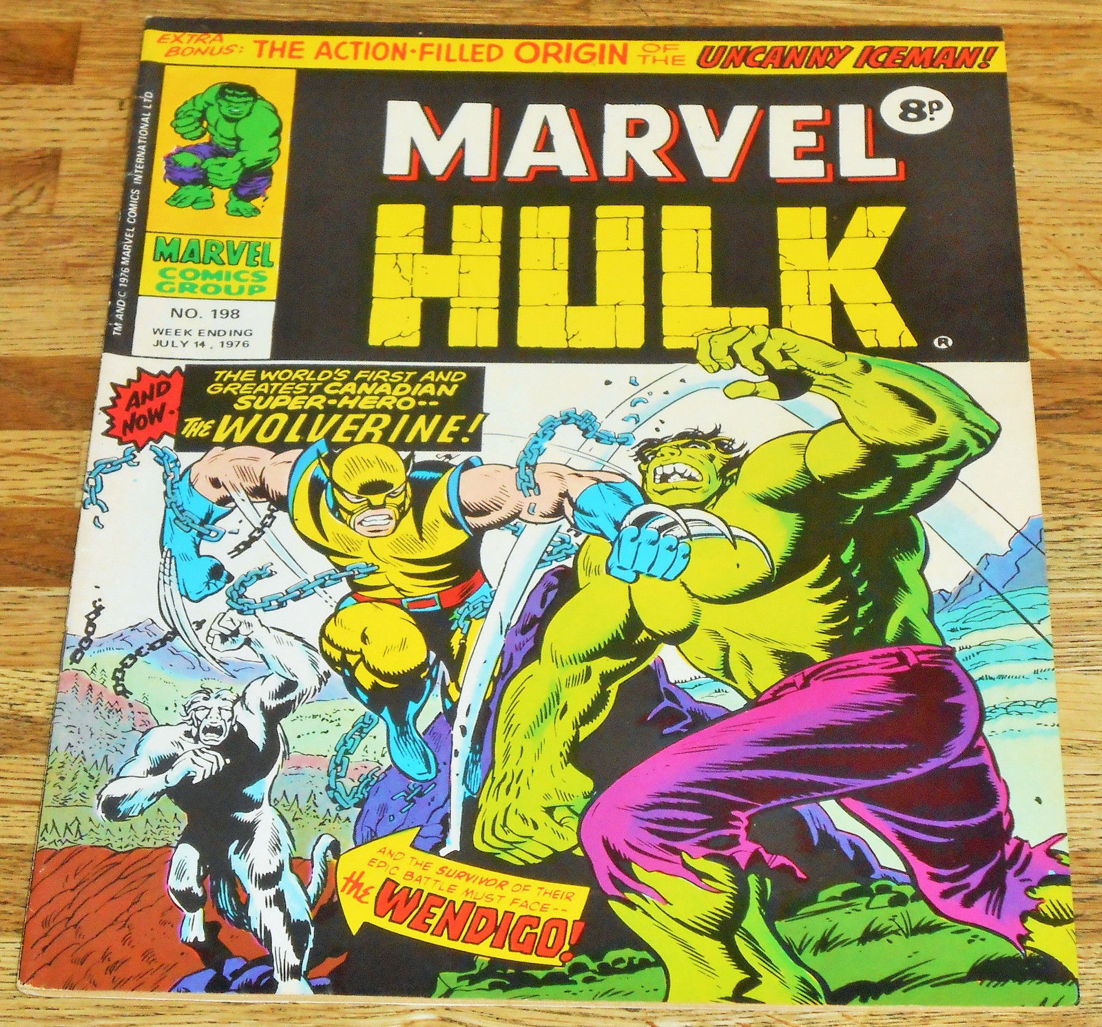 MIGHTY WORLD OF MARVEL no.198 1976 key 1st app WOLVERINE Hulk 181 higher grade