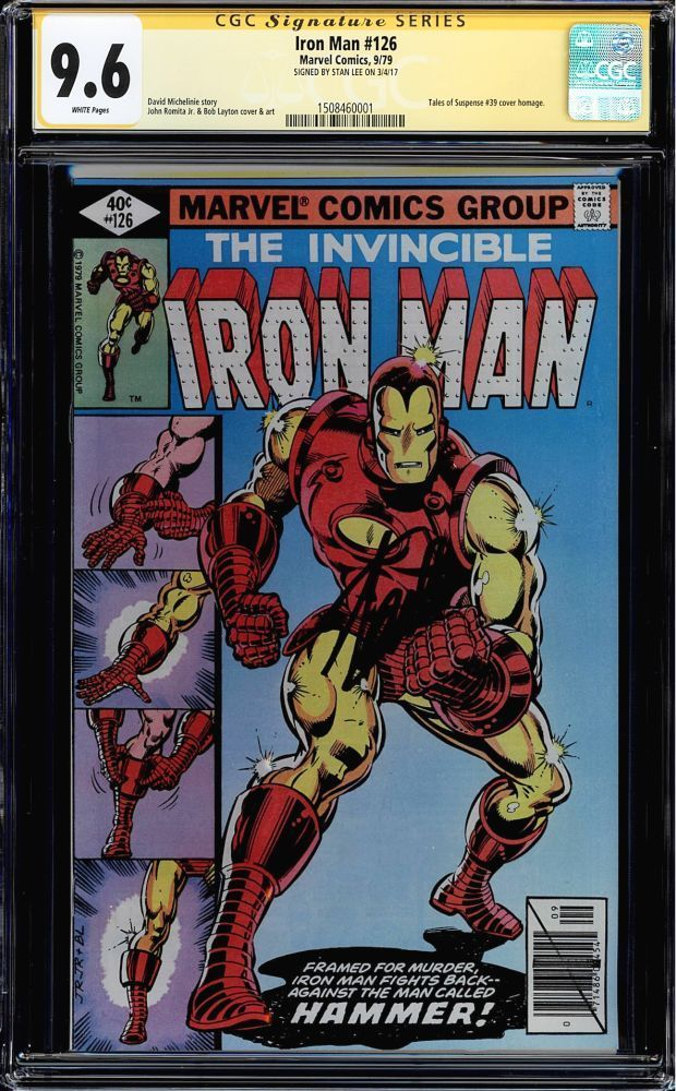 IRON MAN #126 CGC 9.6 WHITE PAGES SS STAN LEE SIGNED CGC #1508460001