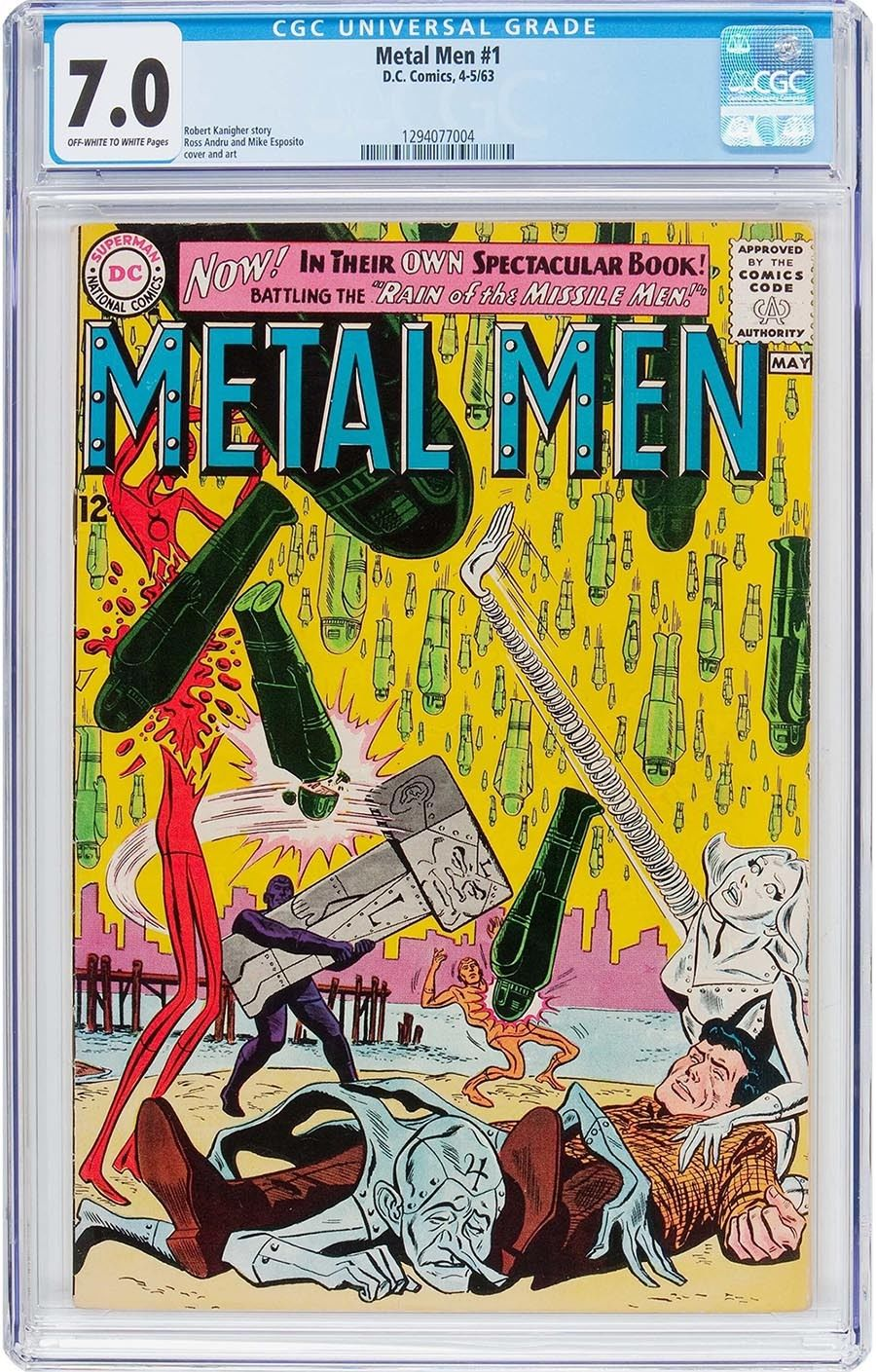 METAL MEN #1  CGC FN/VF 7.0 - KEY DC SILVER AGE 1st ISSUE - 1963