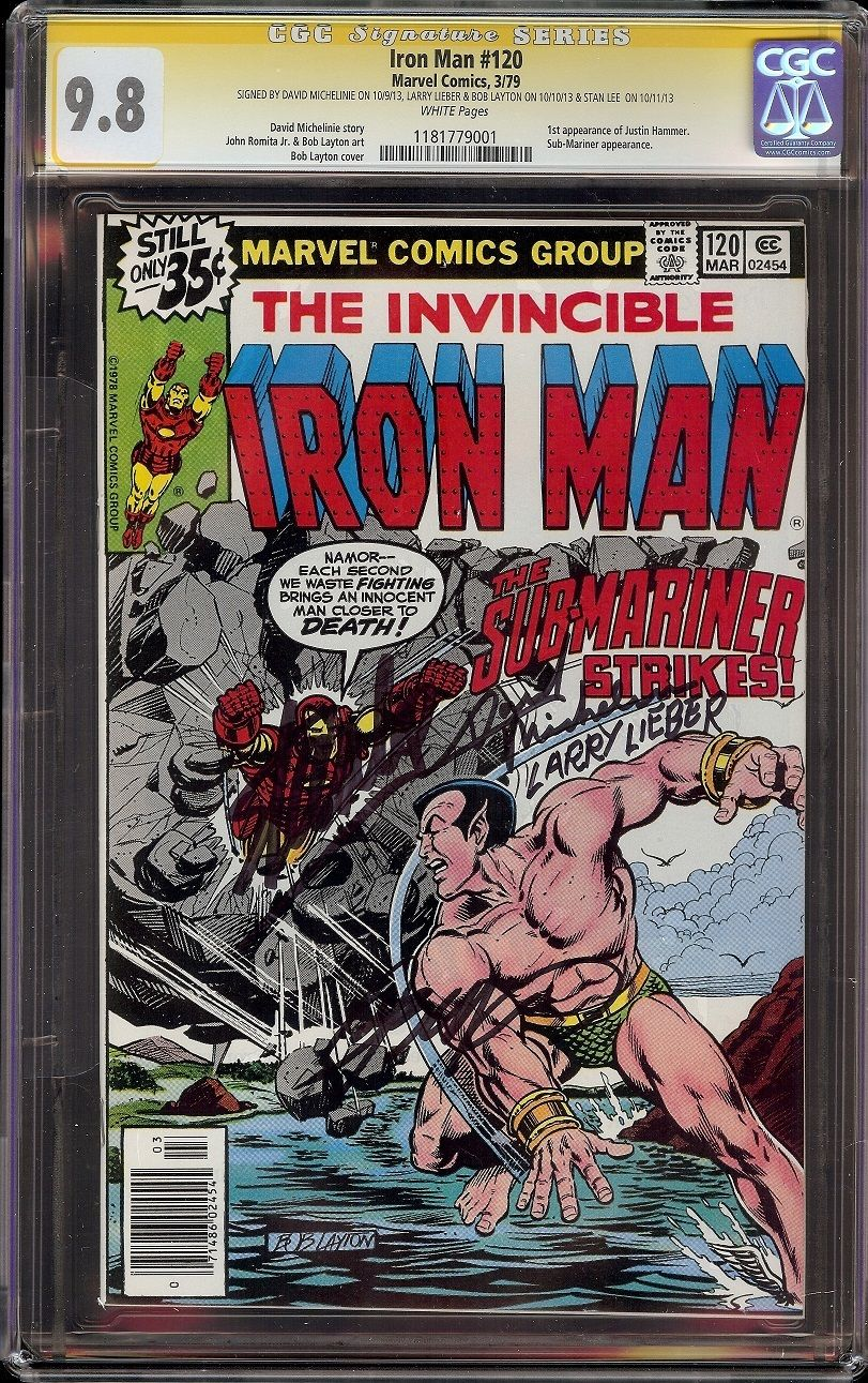 Iron Man # 120 CGC 9.8 White SS (Marvel, 1979) Lee Lieber Michelinie Layton sigs