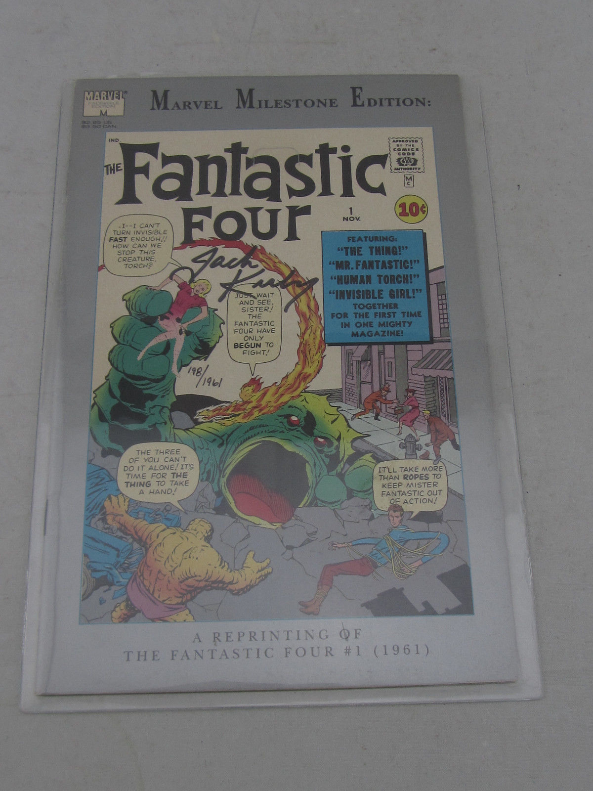 Fantastic Four #1 Milestone Ed Reprint Signed Jack Kirby w/ COA #198 of 1961