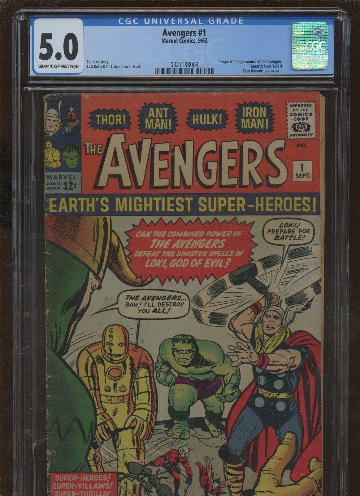 Avengers 1 CGC 5.0 FN/VF * Marvel 1963 *   1st & Origin of Avengers