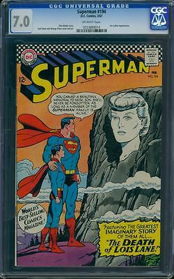 Superman 194 CGC 7.0 Silver Age Key DC Comic L K