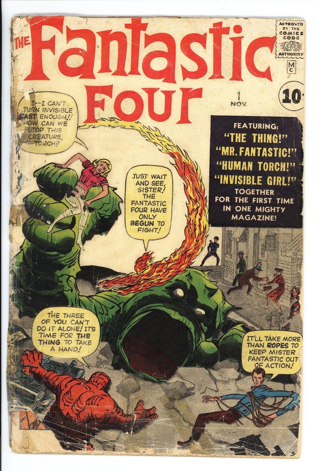 Fantastic Four #1 Vol 1 Nice Low Grade Original 1961 1st App of Fantastic Four